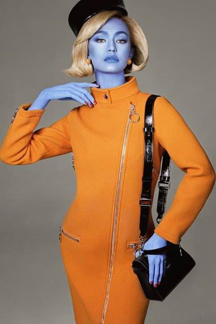 Jeremy Scott Moschino Fall 2018 Illegal Alien Ad Campaign Gigi Hadid Dress Orange