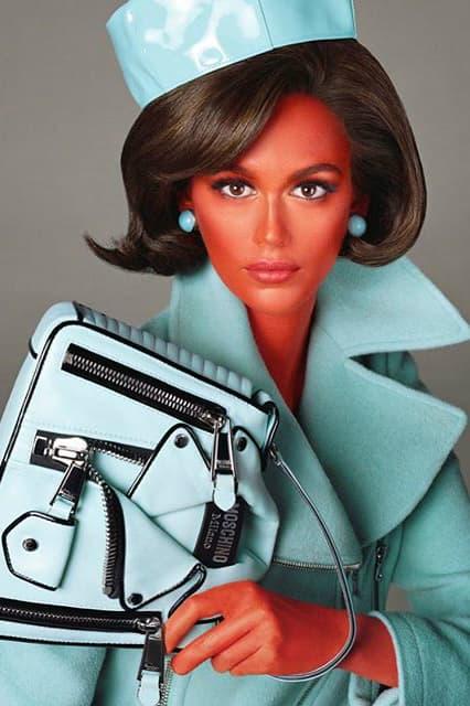 Jeremy Scott Moschino Fall 2018 Illegal Alien Ad Campaign Kaia Gerber Jacket Pill box Hat Handbag Blue