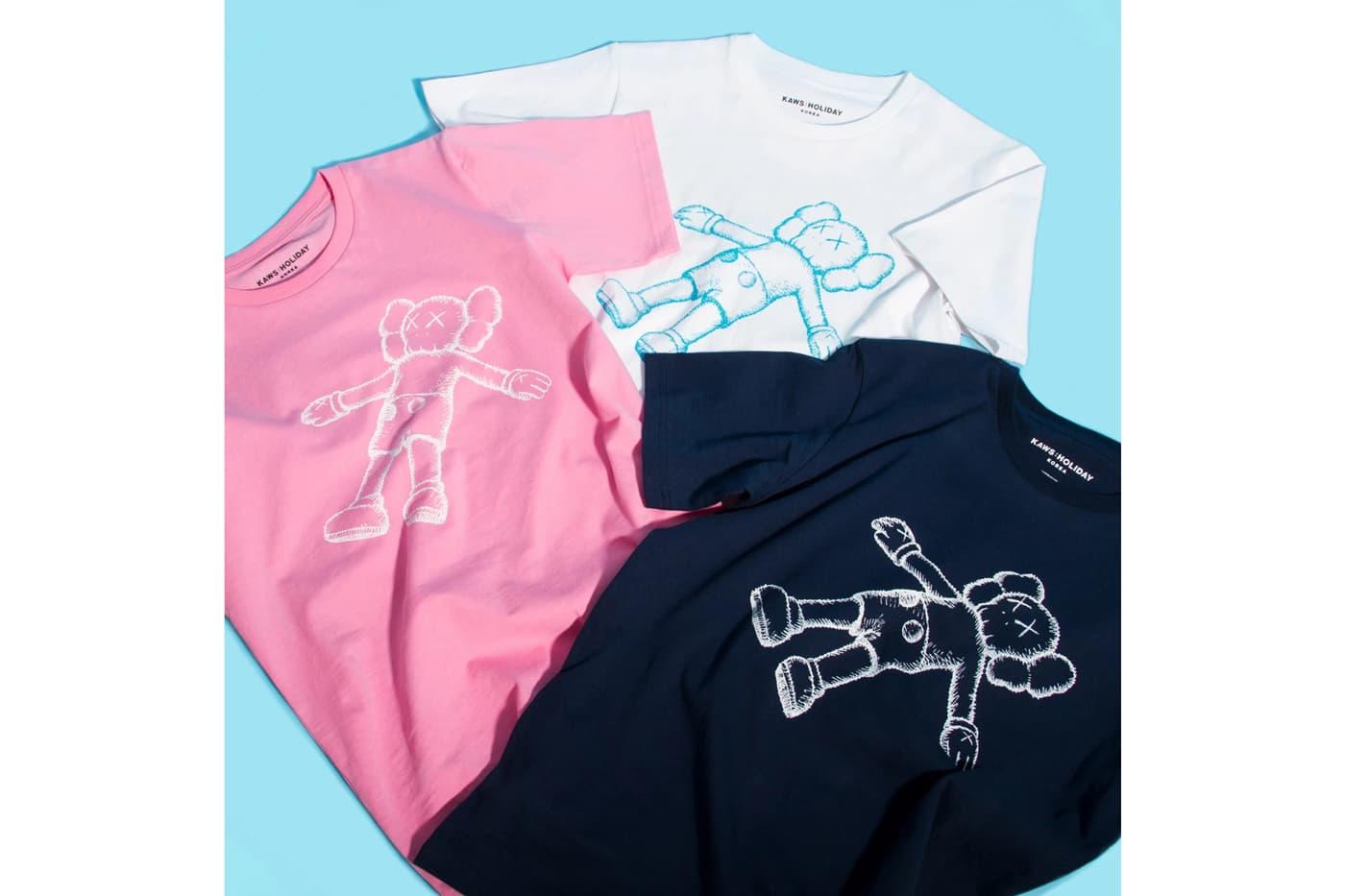 KAWS: ПРАЗДНИК Сеул Seokchon Озеро Корея футболки ВМС Розовый Белый