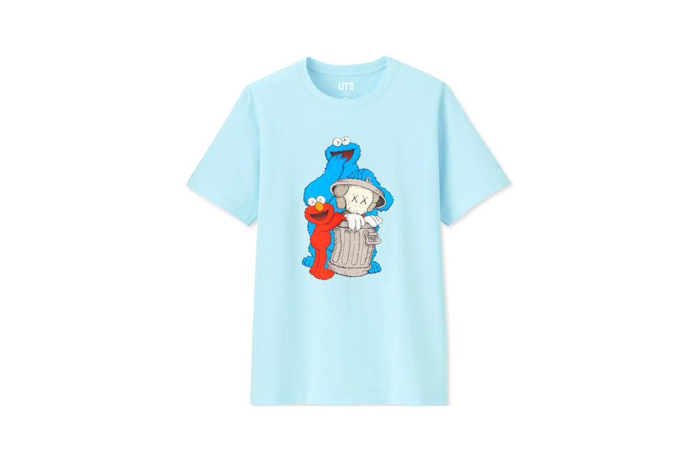 KAWS x Uniqlo UT Sesame Street Collection T-shirt Elmo Cookie Monster Blue