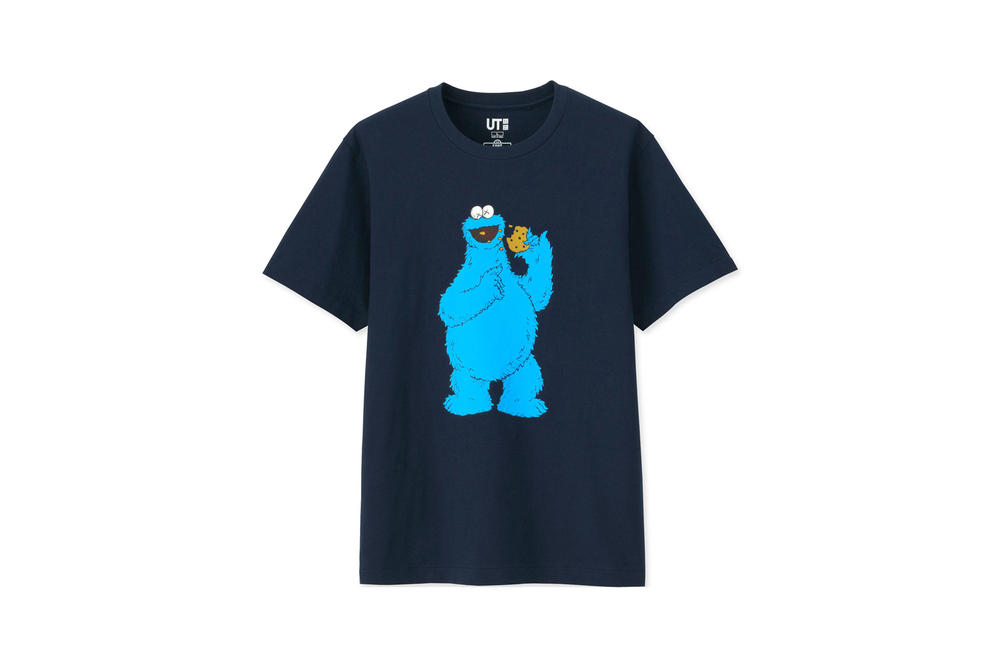 KAWS x Uniqlo UT Sesame Street Collection T-shirt Cookie Monster Navy