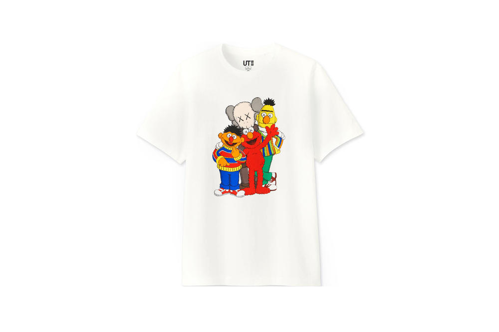 KAWS x Uniqlo UT Sesame Street Collection T-shirts Elmo Bert Ernie Cookie Monster White Blue