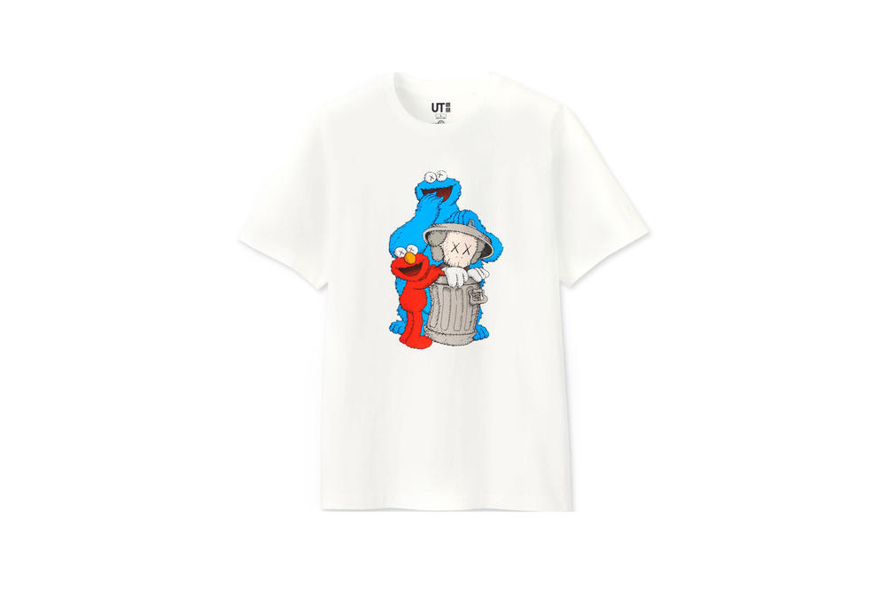 KAWS x Uniqlo UT Sesame Street Collection T-shirts Elmo Cookie Monster White