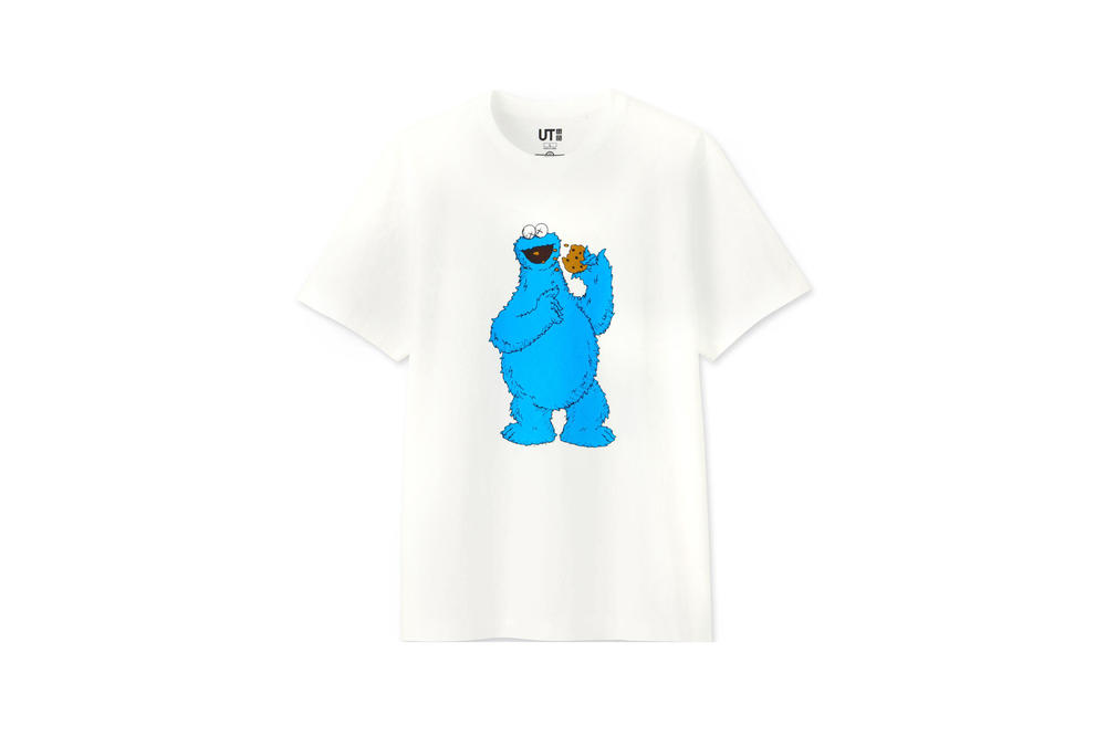 KAWS x Uniqlo UT Sesame Street Collection T-shirt White Cookie Monster White