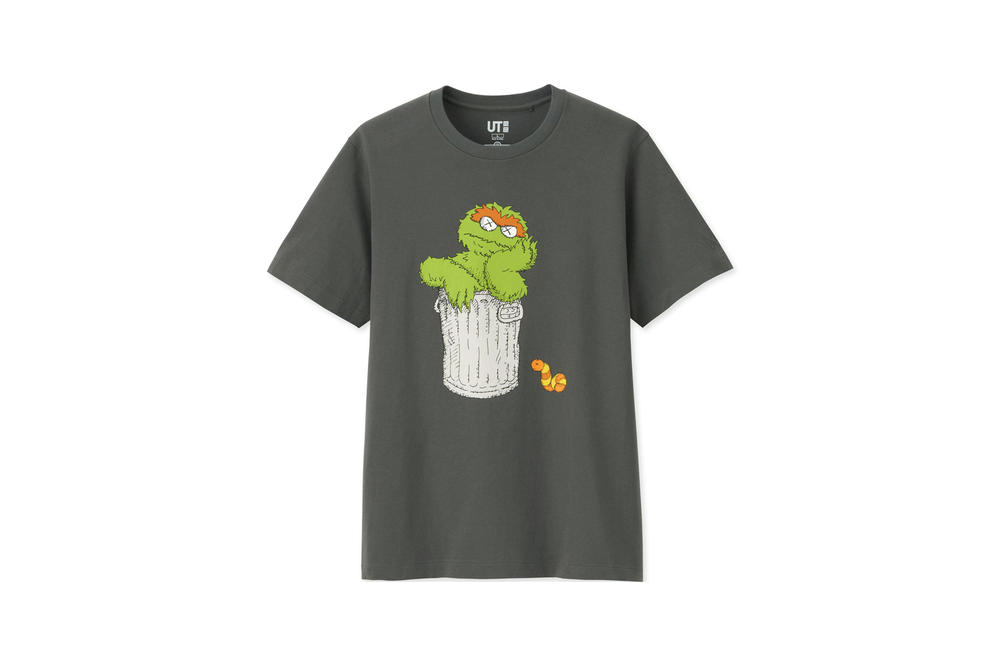 KAWS x Uniqlo UT Sesame Street Collection T-shirt Oscar the Grouch Grey
