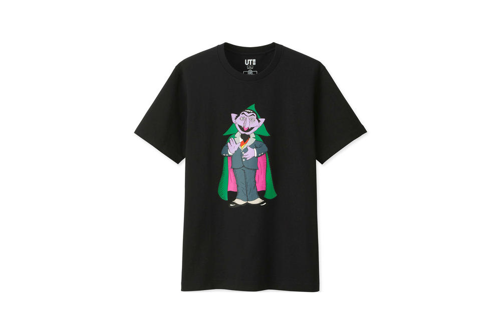 KAWS x Uniqlo UT Sesame Street Collection T-shirt Count von Count Black