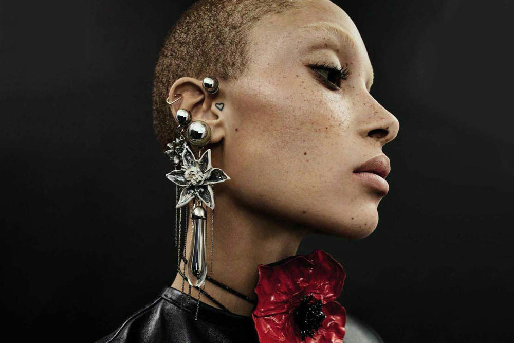 Adwoa Aboah Vogue Spain Editorial Earrings Red Flower Necklace