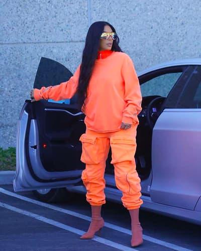 Kim Kardashian Yeezy Season 7 8 Apparel Orange Sweater Cargo Pants Boots