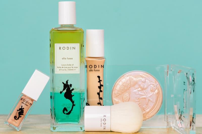 linda rodin mermaid collection luxury luminizer powder body lip oil kabuki brush