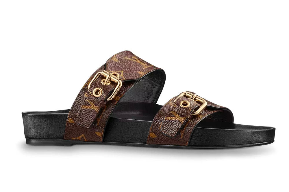 5bc648d13bf414 Louis Vuitton Bom Dia Mule Monogram Buckle Sandal Birkenstock Black