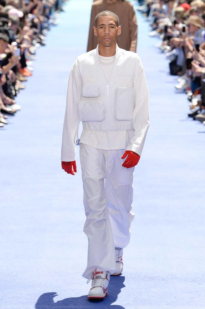 Virgil Abloh Louis Vuitton Paris Fashion Week Men's 2019 All White Look Lucien Clarke