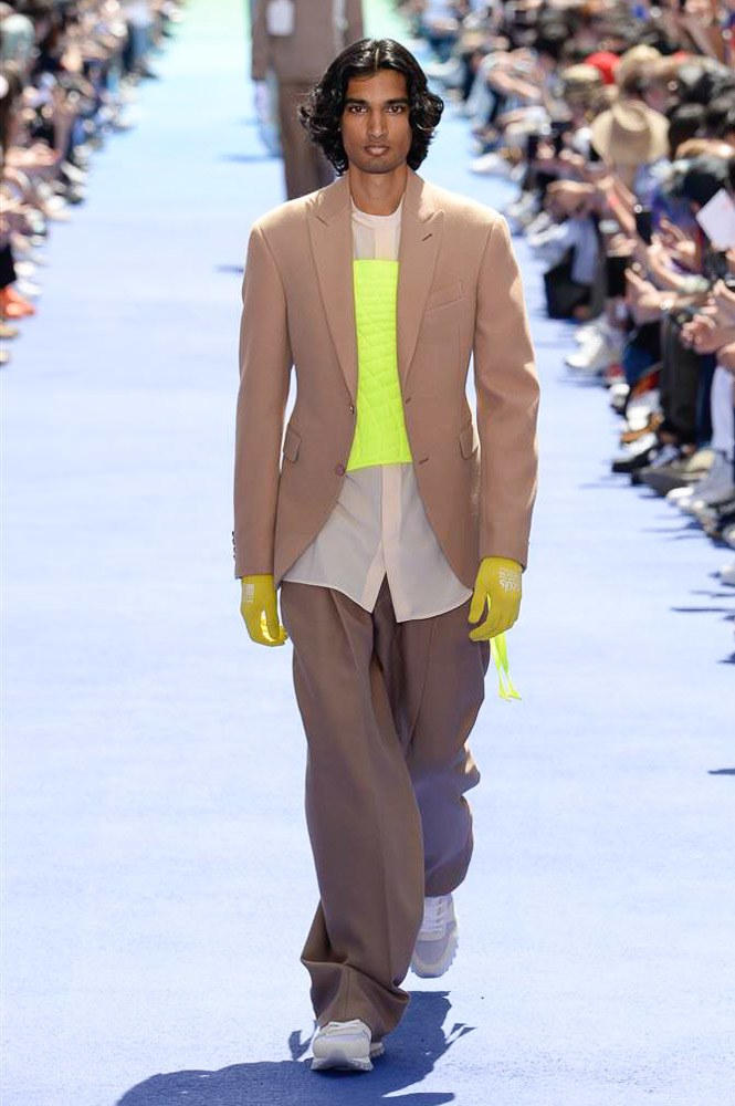 Virgil Abloh Louis Vuitton Paris Fashion Week Men's 2019 Brown Jacket Neon Top