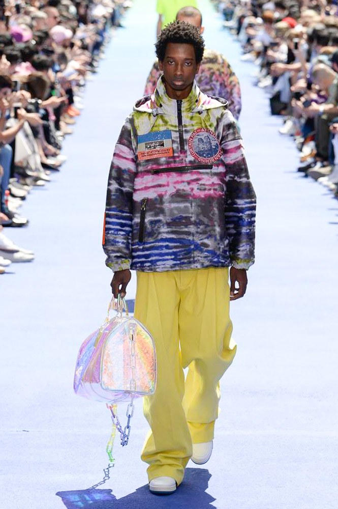 Virgil Abloh Louis Vuitton Paris Fashion Week Men's 2019 Graphic Jacket Yellow Pants Iridescent Holdall Bag