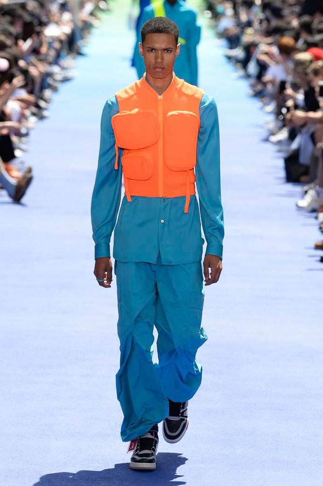 Virgil Abloh Louis Vuitton Paris Fashion Week Men's 2019 Blue Orange Padded Vest
