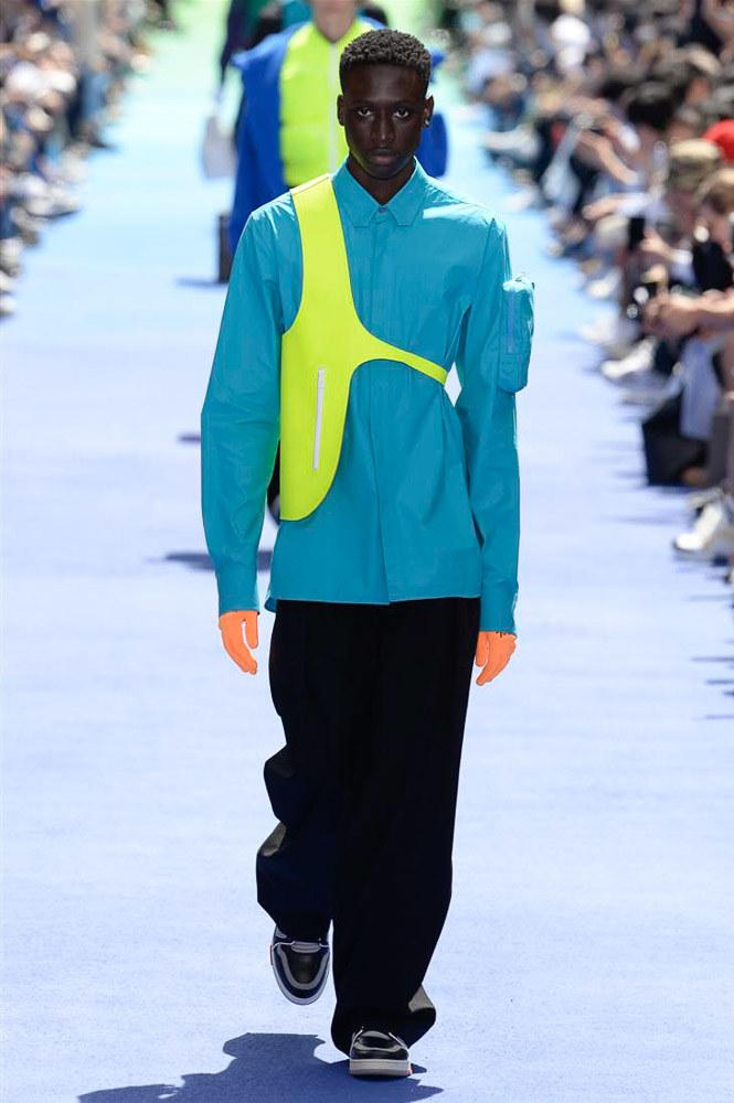 Virgil Abloh Louis Vuitton Paris Fashion Week Men's 2019 Blue Shirt