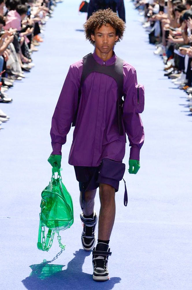 Virgil Abloh Louis Vuitton Paris Fashion Week Men's 2019 Purple Jacket Transparent Green Bag