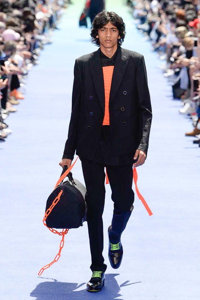 Virgil Abloh Louis Vuitton Paris Fashion Week Men's 2019 Orange Chain Black Bag