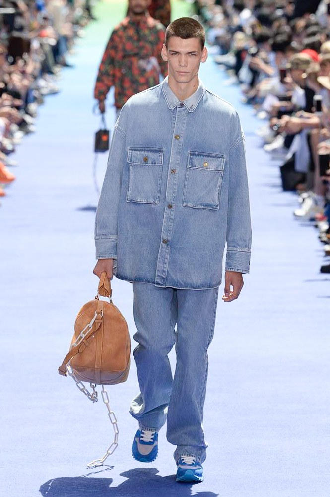Virgil Abloh Louis Vuitton Paris Fashion Week Men's 2019 All Denim Look Suede Bag