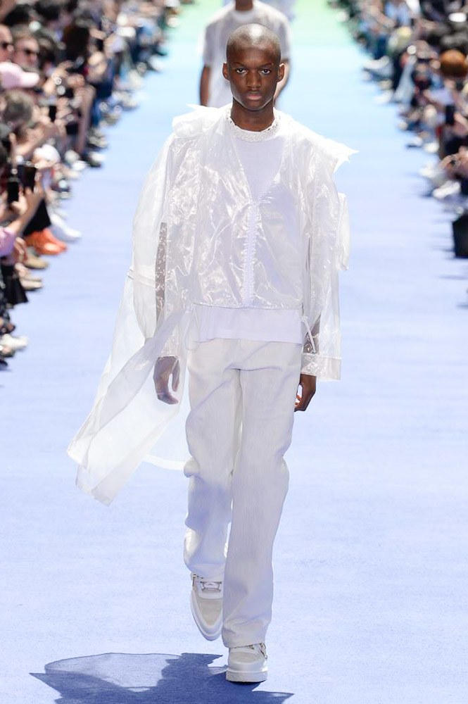 Virgil Abloh Louis Vuitton Paris Fashion Week Men's 2019 All White Look Transparent Plastic Jacket