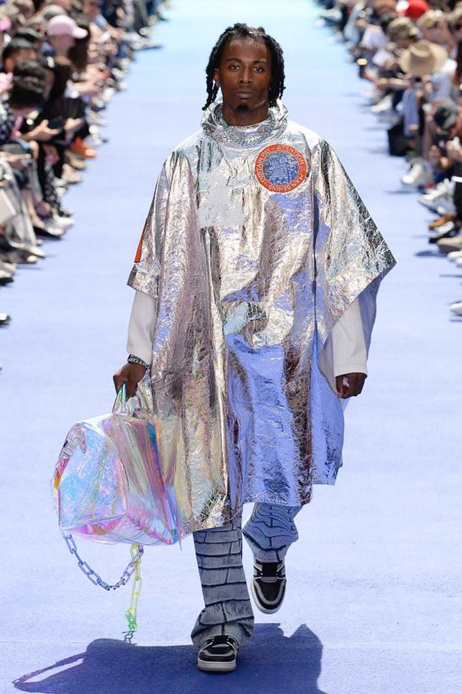 Virgil Abloh Louis Vuitton Paris Fashion Week Men's 2019 Silver Metallic Jacket Holographic Holdall Bag Playboi Carti