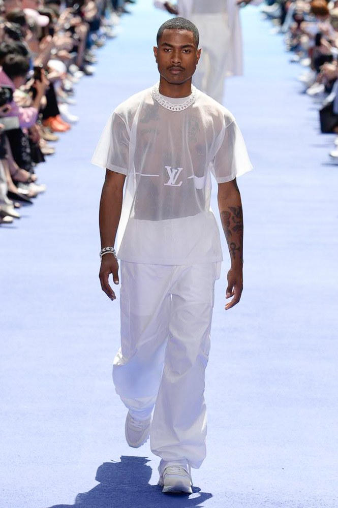 Virgil Abloh Louis Vuitton Paris Fashion Week Men's 2019 All White Look Sheer LV T-Shirt Top