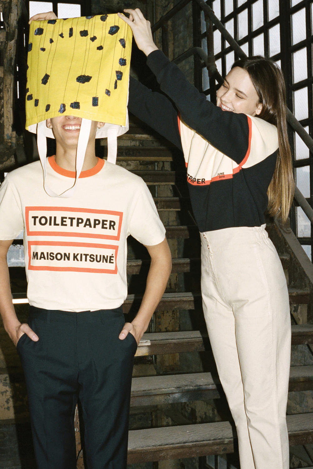 Maison Kitsune x Toilet Paper Collaboration Fashion Lookbook Magazine Editorial Bold Prints Science Graphic Motif