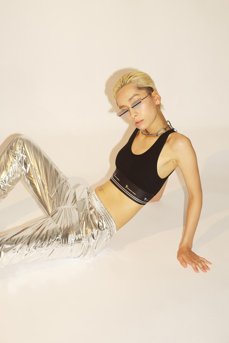 HBX HBXWM The New Classic Spring/Summer 2018 Editorial MM6 Maison Margiela Woven Pants Alexander Wang Compact Rib Cutout Crop Top With T Logo Elastic Silver Black