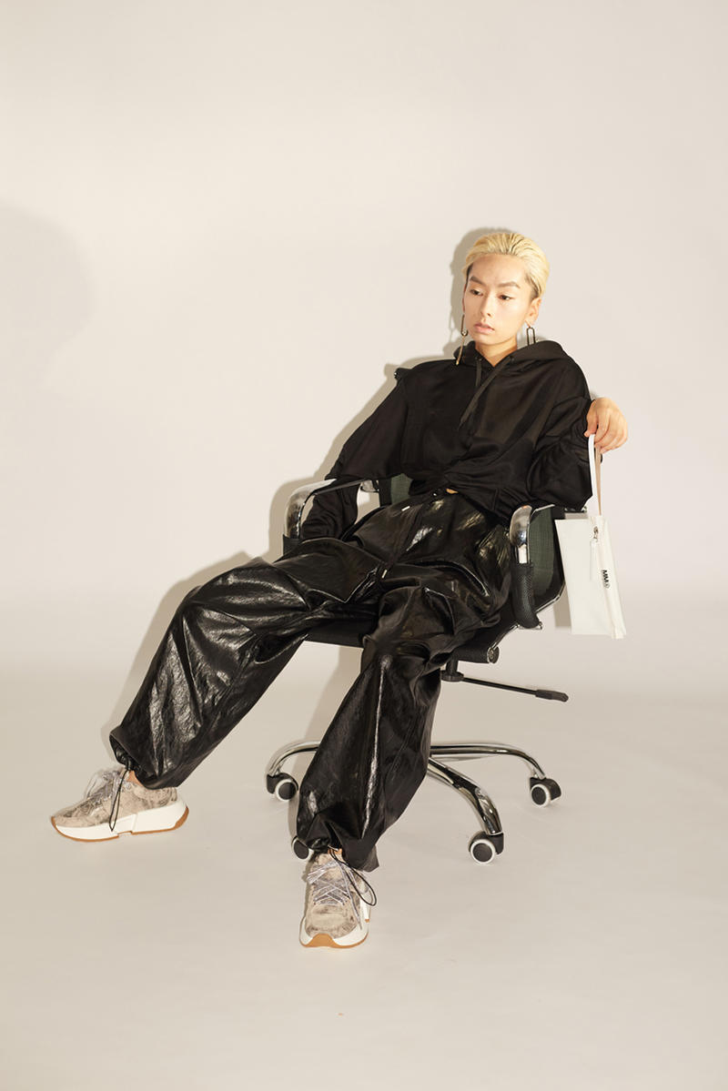 HBX HBXWM The New Classic Spring/Summer 2018 Editorial MM6 Maison Margiela Pants Sneakers Alexander Wang Papery Faux Leather Pants Black Multicolored