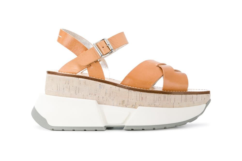 Maison Margiela Colorblock Open-Toe Platform Sandals Brown White Gray
