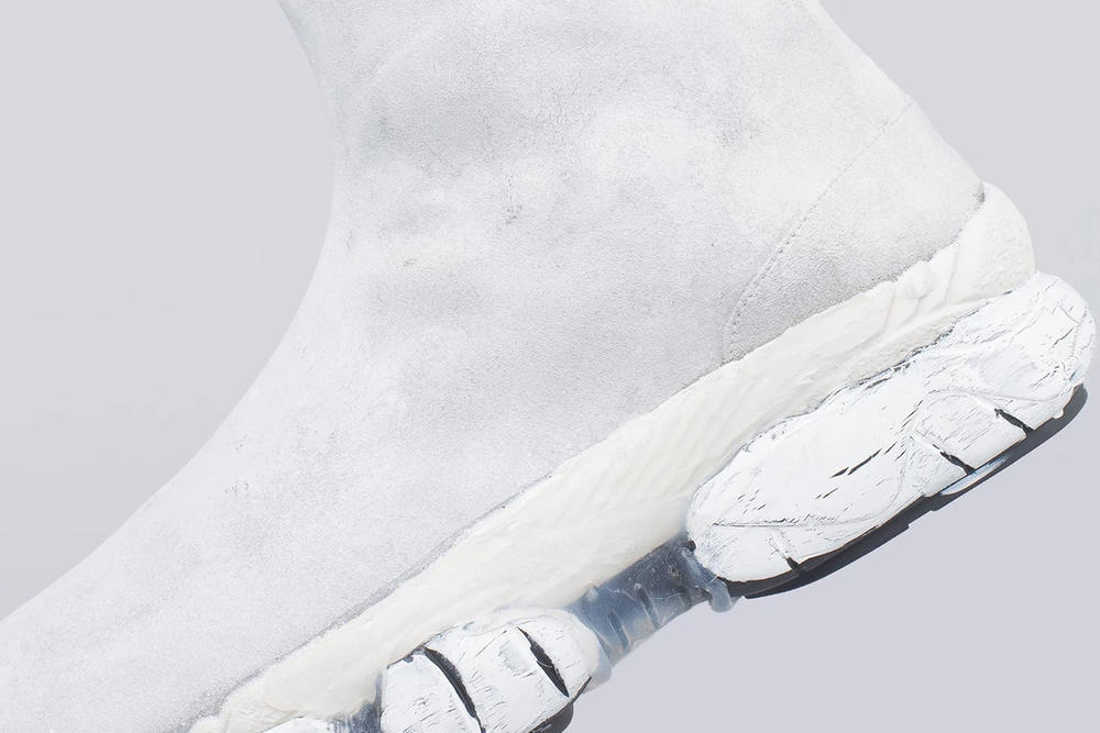 Maison Margiela Paint Covered Tabi Sneakers White MM6 John Galliano