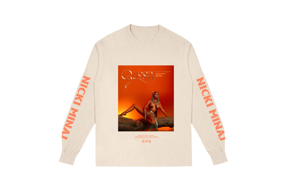 Nicki Minaj NICKIHNDRXX Tour Merch Queen Long Sleeve Cream