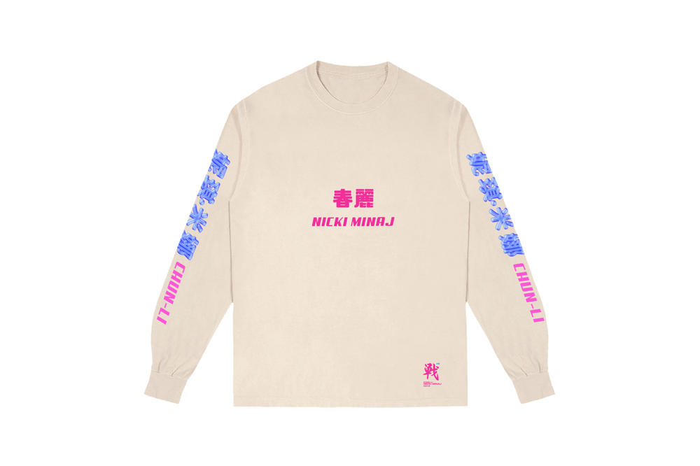 Nicki Minaj NICKIHNDRXX Tour Merch Chun-Li Logo Long Sleeve Cream