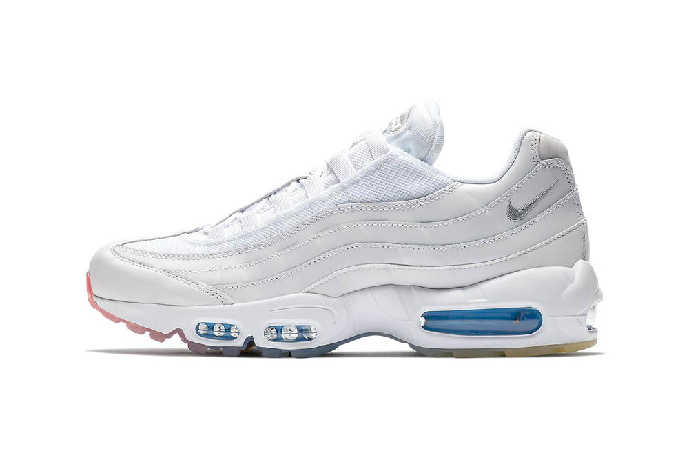 e392ab9c0e Nike Air Max 95 White Photo Blue Glacier Blue Metallic Silver