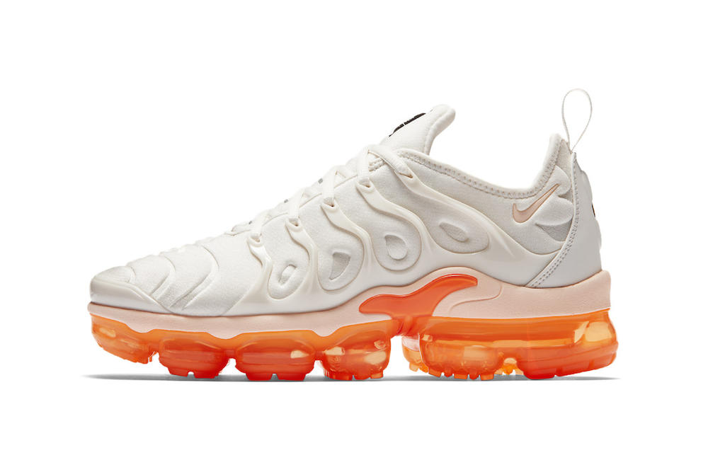 43e0bb7a6feb8 Nike Air VaporMax Plus White Orange Women s Only Summer 2018 Sneakers