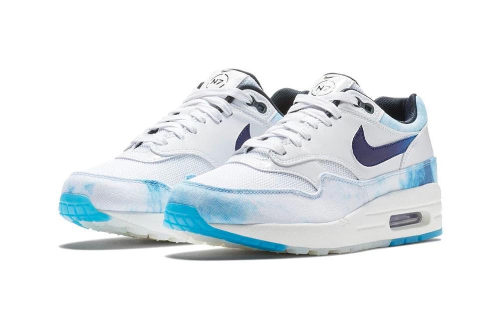 Nike N7 Air Max 1 Acid Wash White Blue Sneakers