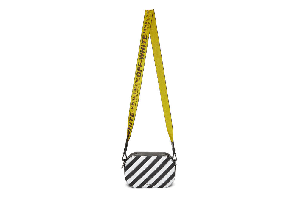Off-White™ White Leather Backpack and Camera Bag Purse Virgil Abloh Stripes Streetwear Accessory