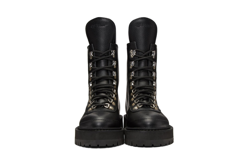 Off-White™ Hiking Boots in Brown and Black Combat Boots Virgil Abloh Lace Up Leather