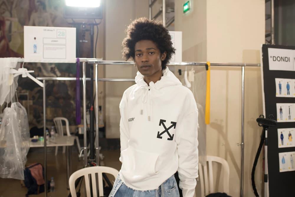 Off-White Virgil Abloh Menswear Spring/Summer 2019 Paris Fashion Week Men's Collection Backstage Hoodie White