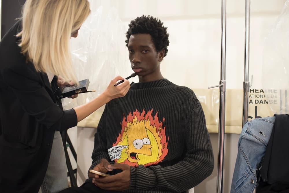 Off-White Virgil Abloh Menswear Spring/Summer 2019 Paris Fashion Week Men's Collection Backstage Bart Simpson Shirt Black Yellow Orange