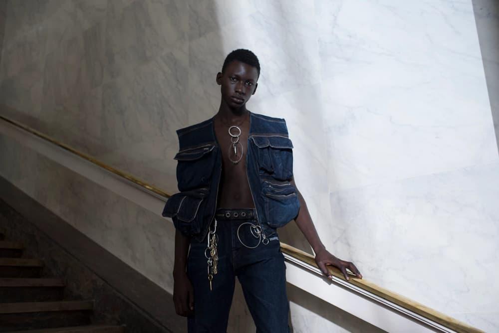 Off-White Virgil Abloh Menswear Spring/Summer 2019 Paris Fashion Week Men's Collection Backstage Denim Vest Blue