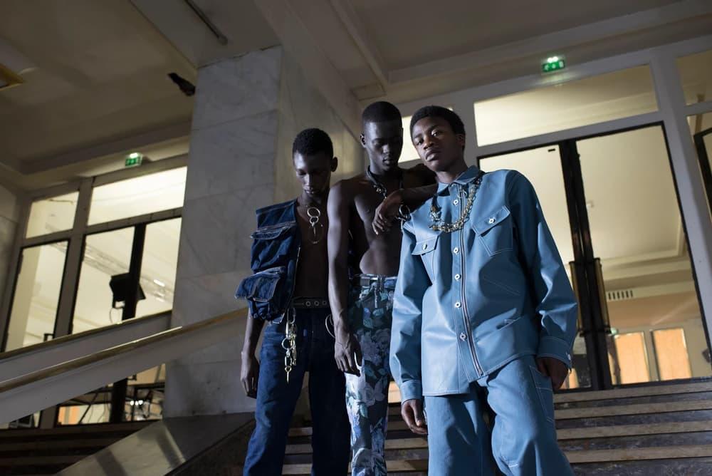 Off-White Virgil Abloh Menswear Spring/Summer 2019 Paris Fashion Week Men's Collection Backstage Denim Vest Jacket Blue