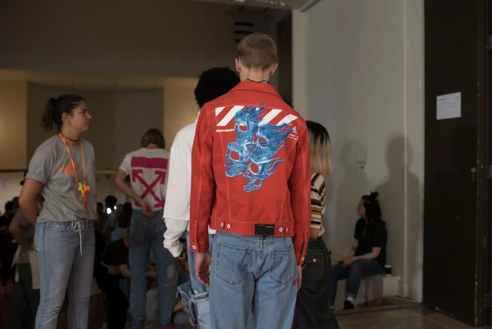 Off-White Virgil Abloh Menswear Spring/Summer 2019 Paris Fashion Week Men's Collection Backstage Jacket Red White Blue