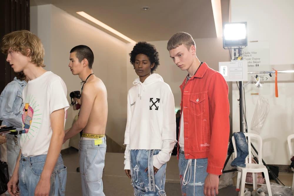 Off-White Virgil Abloh Menswear Spring/Summer 2019 Paris Fashion Week Men's Collection Backstage T-shirt Hoodie Jacket White Red