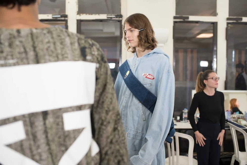 Off-White Virgil Abloh Menswear Spring/Summer 2019 Paris Fashion Week Men's Collection Backstage Jacket Blue