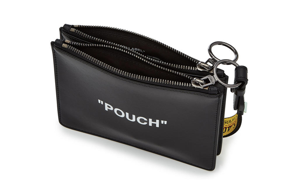 """Off-White™ Black Leather """"POUCH"""" Industrial Strap Wallet Clutch Bag"""