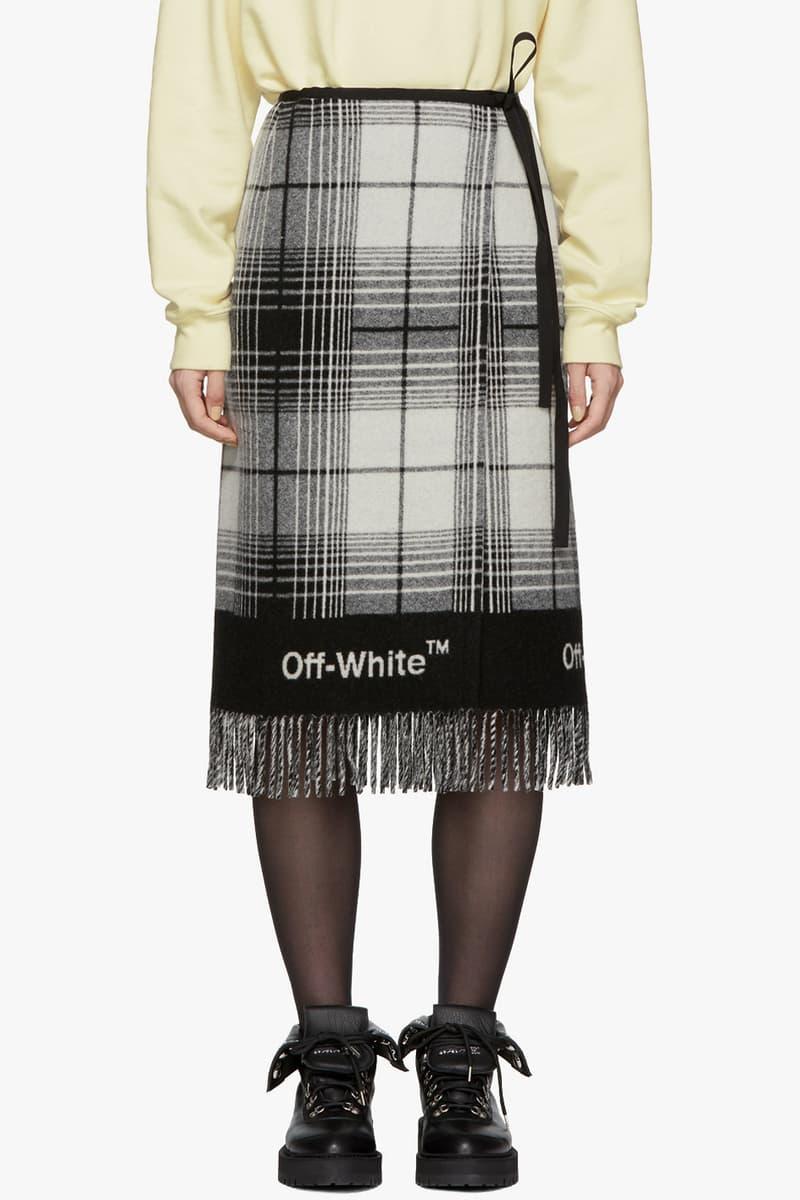 Off-White Check Blanket Skirt Black White