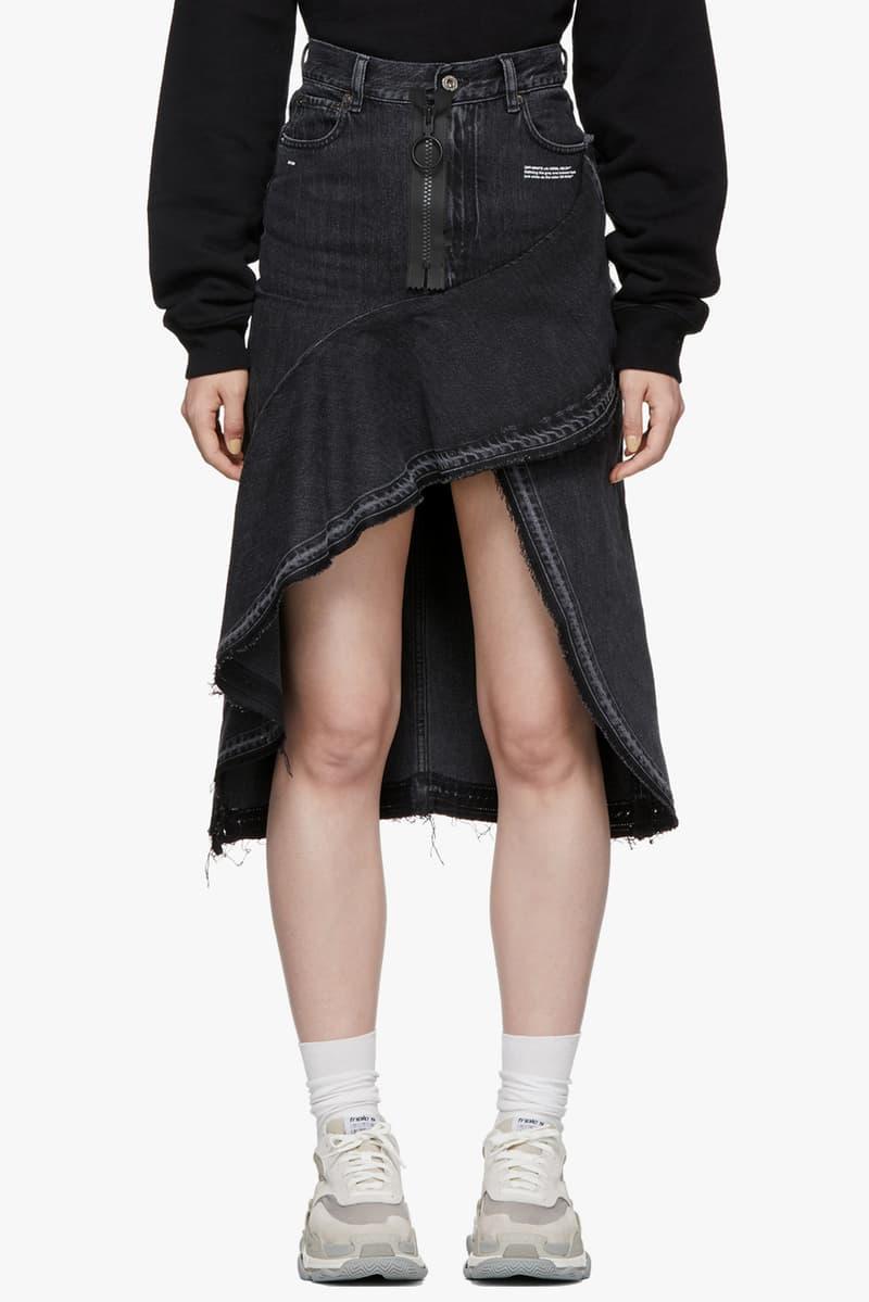Off-White Ruffles Denim Skirt Grey