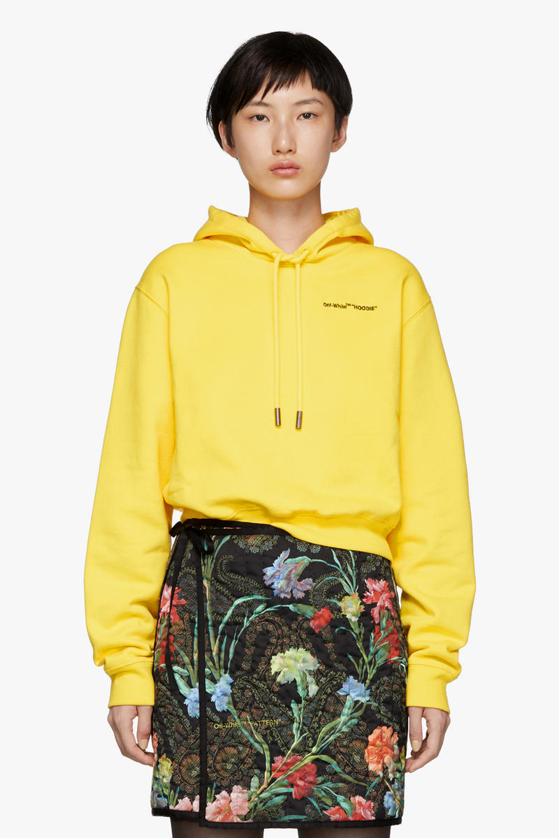 Off-White Quotes Cropped Hoodie Yellow