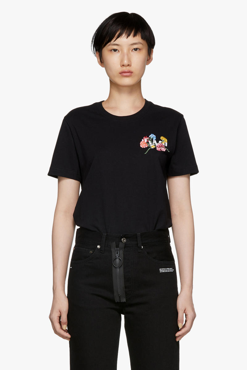 Off-White Flowers Casual T-Shirt Black
