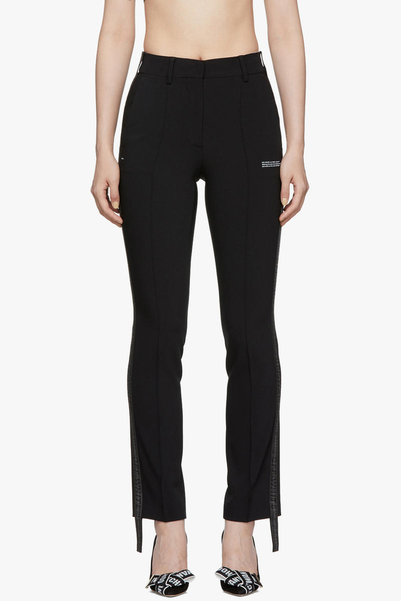 Off-White Crepe Banded Cigarette Trousers Black